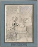 Young woman on a harpsichord