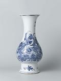 Pear-shaped vase with mythological figures riding a dragon and a tiger
