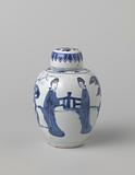 Ovoid covered jar with four Chinese ladies in a fenced garden