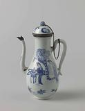 Pear-shaped milk jug with Chinese ladies and boys, silver mounts
