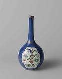 Pear-shaped bottle vase with powder blue, flower sprays and antiquities