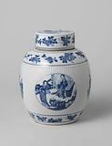 Ovoid covered jar with flower sprays and narrative scenes in medallions