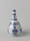 Pear-shaped bottle vase with auspicious symbols, tassels and ornamental borders