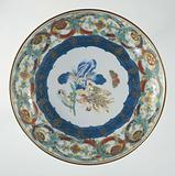 Saucer-dish with flowers, butterfly and ornamental borders