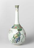 Bottle Decorated with Four Foo Dogs