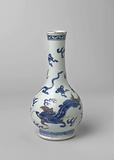 Pear-shaped bottle vase with dragons, precious objects and auspicious symbols