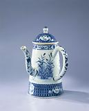 Conical coffeepot with an image of The Parasol Lady