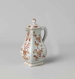 Square pear-shaped milk jug with flower sprays, butterflies and birds