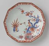 Decagonal dish with brushwood fences, bamboo, prunus and pheasants