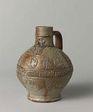 Jug (Bartmann jug) with portraits, leaves and an ornamental border