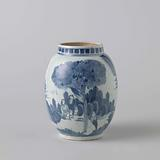 Ovoid jar with figures in a landscape with trees, houses and rocks