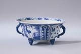 Covered bowl or butter tub with a figure in a landscape, lotus scrolls and flower sprays