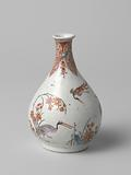 Pear-shaped bottle vase with three groups of flowers and three birds