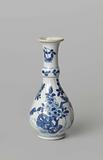 Pear-shaped bottle vase with flowering plants, birds and insects near a rock