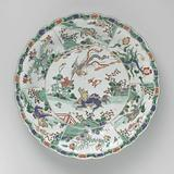 Dish with mythological animals in landscapes