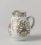 Pear-shaped milk jug with a coat of arms and flower scrolls