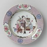 Deep plate with a Chinese lady and two boys among precious objects