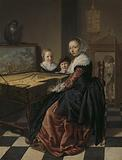 Woman playing the virginal