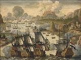 Naval Battle of Vigo Bay, 23 October 1702. Episode from the War of the Spanish Succession.