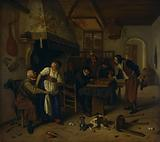 Interior of an inn with an old man amusing himself with the landlady and two men playing backgammon, known as 'Two …