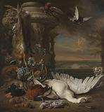 Hunting and Fruit Still Life next to a Garden Vase, with a Monkey, Dog and two Doves, in the distance Rijksdorp near …
