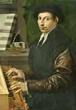 Portrait of a man playing a virginal