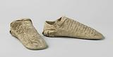 Shoe, flat, with front cover and heel of incised – pale yellow faded – velvet and with bovine leather sole with a …