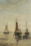 Bluff-Bowed Scheveningen Boats at Anchor