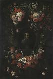 Wreath of Flowers encircling a Portrait of Hieronymus van Weert, Martyr of Gorkum