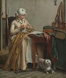 Interior with Woman Sewing