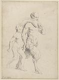 Boy next to a satyr with a bag