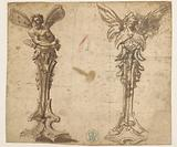 Two designs for winged hermes