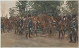 Hussars standing next to their horses by the side of the road