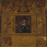 Portrait of Charles I, King of England, in a Frame with Allegorical Figures and Historical Representations