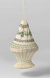 Reticule, in a round basket shape, in ecru cotton with knitted multicoloured beads in a pattern of floral scrolls and …