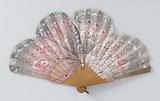 Folding fan with scalloped blade of cotton gauze entirely painted as a butterfly in rose, silver and white, on a …