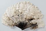 Folding fan of white-brown ostrich feathers on a frame of narrow, tortuous plastic legs with turtle motif