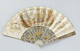 Folding fan with a sheet of paper on which, in watercolour, a central medallion with Diana and her nymphs resting by a …