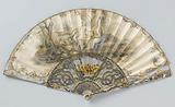 Folding fan with leaf on which is painted in watercolour Vertumnus & Pomona, on a carved and silver-and-gold frame …