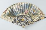 Folding fan with sheet of paper on which is a watercolour painting of Hermes, with oval woman's portrait, looking at …