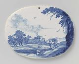 Two oval plaques with landscapes