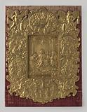 Tabernacle door, relief of gilded copper on oak panels