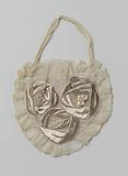 Glass bagist evening bag, with three embroidered silver-coloured silk flowers on either side