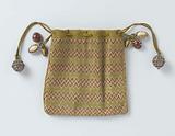 Pouch, embroidered with zigzag pattern (point d'Hongrie) in green, white and red-brown silk with drawstring with …