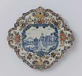 Plate, diamond-shaped with scalloped edge