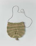 Small, round purse of knotted silk, interspersed with horizontal green and beige strips