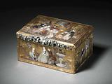 Snuff box of gold, rectangular, depicting a tea party in mosaic and mother-of-pearl. A garland of diamond on the front.