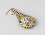 Gold perfume bottle, flattened pear-shaped, with enamel scenes on both sides