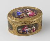Snuff box of gold, oval, with six scenes in enamel