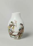 Ovoid vase with four ladies and two children at a table and an inscription